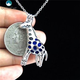 giraffe necklaces 2020 - K173 Silver Zoo Giraffe Diffuser Locket Necklace Pendant Bead Cage Steel Chain Aroma Essential Oil Diffuser Locket bbybi