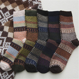 Wholesale wool socks resale online - 5Pairs Wool Socks Men Long Tube Retro Male Socks National Wind Warm Fashion Man