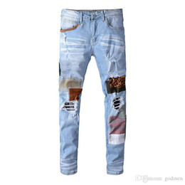 Wholesale mens distressed jeans resale online - Mens Jeans Hip Hop Pants Stylist Jeans Distressed Ripped Biker Jean Slim Fit Motorcycle Denim Jeans Size