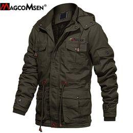 Wholesale men military style winter coat resale online – Magcomsen Winter Military Jacket Men Windbreaker Parka Cotton Thicken Fleece Hooded Cargo Jackets Multi Pockets Fashion Coat Man