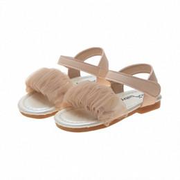 Korean Girls Princess Beach Sandals Summer Lace Childrens Soft Open Toe Beach Shoes Casual Kids Flats Fashion Toddler Baby Shoe Kids S YNuO#