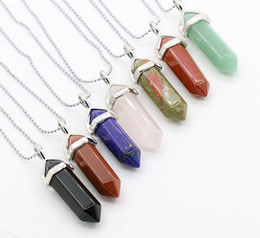 real amethyst pendant necklace NZ - Semi-precious Bullet Shape Natural Stone Pendant Real Amethyst Women Chakra Gem Stones Quartz Crystal Necklaces Summer Jewelry