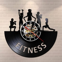 watches for women designer Canada - Fitness Centre Vinyl Record Clock Women Fitness Club Wall Clock Retro Art Decor for Sports Room Bodybuilding Studio Watch Clock