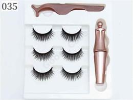 3 Pairs Magnetic Eyelashes False Lashes + Liquid Magnetic Eyeliner+Tweezer Eye makeup set 3D Magnet False Eyelash Cosmetics Tools NewF101907 on Sale