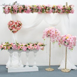 wedding backdrops props 2021 - Orginal Design 50 100cm Artificial Flower Row Wedding Backdrop Decor Flower Arrangement Table Runner For Party Event Sta