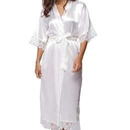 Summer Lace Patchwork Satin Femmes Kimono Peignoir long satin de soie femmes Chemise de nuit