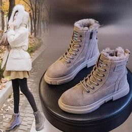 Z55 Martin boots women 2020 winter flat student plus velvet nubuck leather snow boots platform Ankle Boots warm woman shoes #5D8T