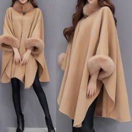 Wholesale designer trench coats women resale online - Elegant Up r Shawl Design Winter Women Trench Coat with Fur Collar Bw00