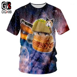 Wholesale t shirt men alien resale online - OGKB Summer Tops Funny Print Hamburger Alien Cat D T shirts For Men women Hiphop Streetwear Punk O Neck Short Sleeve Tee Shirts1