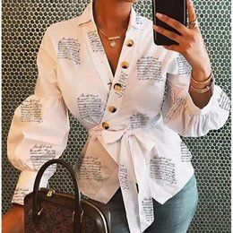 Discount womens button blouses Fashion Womens Casual Loose Button Down Shirt Long Sleeve Blouse blusas mujer de moda Bandage Tops Streetwear Outfits Clothes1