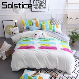 beautiful king size bedding sets 2021 - Solstice Home Textiles Fashion Cartoon Pattern Beautiful Print Bedding Sets Pillowcase Bed Sheets Bedclothes 4pcs King T