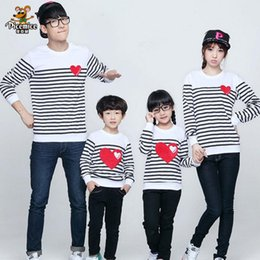 Discount new full t shirt design 2020 New Design Family Clothing Spring Autumn long sleeve love Stripe Father Daughter Girl Boy T-shirt Family Matching C