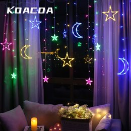 Discount star moon curtain lights Moon Star Lamp Decorative Led Lighting Curtain Light Led String Wedding Lantern Moon Star Light Christmas Night Room Dec