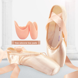 Sales Satin Ballet Pointe Shoes Professional Girls Ladies Ballerina Dance Shoes With Ribbons 201017 on Sale