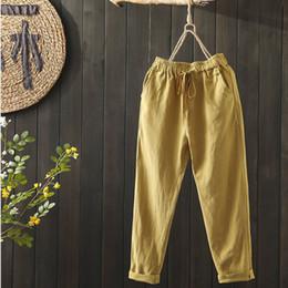 Wholesale pant back pocket resale online – 100 Cotton Plus Size Women Pants Summer Elastic Waist Loose Casual Harem Pants Back Pocket Cotton Linen Trousers colour D58