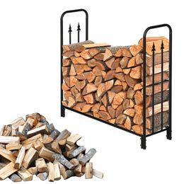 Heavy Duty Brennholz Racks, Innen- / Außen Log Zahnstangen-Halter, 44-Zoll groß, schwarz im Angebot