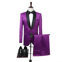 Discount gold tuxedo for groom New Arrival Purple Mens Suits for Prom Party Black Shawl Lapel Casual Style Wedding Tuxedos for Groom 2 Piece Jacket Pan