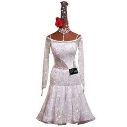 ingrosso vestito da ballo latin jazz-White Lace elegante signore Latin Dance Dress Charleston Gatsby Costume Party Strass Ballroom Dance Competition Salsa Jazz