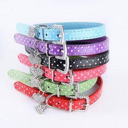 Discount polka dots dog collars Newest Dog Collar Heart Crystal Pendant Small Pet Cat Collar Polka Dot Pattern Green Blue Purple Black Red Pink HOT