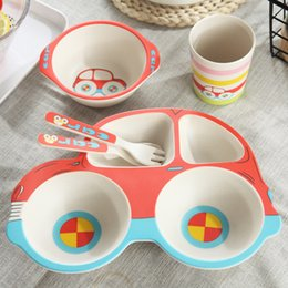 Discount animals dishes  set Eco-friendly Bamboo Fiber Baby Dishes Car Model Tableware Set For Kids Toddler Dinnerware Feeding Bowl Separation P