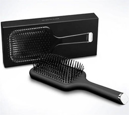 Wholesale paddle resale online - Fast DHL Brush Professional Paddle Comb Hot Brush for Hair Styling Ceramic Hair Straightener Brush