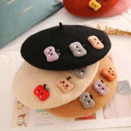 Wholesale apple black hat for sale – custom Beret hat women bonnets Cute Vintage college wind sailor black woolen Apple Beanie hat Retro sweet painter hat