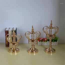 gold candelabras wedding 2021 - Metal Candle Holder Gold Crown Shape Candelabra Fashion Wedding Candle Stand Exquisite Candlestick Table Christmas Home Decor1