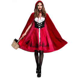 Wholesale woman costumes fantasy online – ideas New Deluxe Little Riding Hood Costume Red Long Cape Outfit for Women Halloween Party Fantasy Fancy Dress