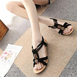 Women Shoes Summer Fashion Womens Casual Peep Toe Flat Buckle Shoes Roman Summer Sandals For Ladies Women mT68#