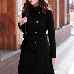 Wholesale mandarin trench coat resale online - Wool Blends Womens Winter Warm Thick Lapel Wool Trench Jacket Long Sleeve Overcoat Plus Size Slim Outwear Female Coat