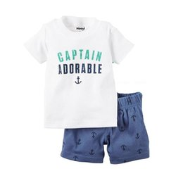 Discount baby clothes anchors Sailor Baby Boy Clothes Suit Summer Tee Shirts + Short Pants 2pc Sets Adorable Captain Anchor Outfits Cotton Sets Tops J