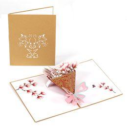 Çiçek sevgililer 3D lazer kraft kağıt açılır kart ile zarf davetiyeleri tebrik kartları düğün davetiyesi