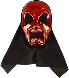 scream mask wholesale UK - Adult Skull Scream Ghost Face Masks with Shroud, Plastic 3D Skeleton Mask Scary Devil Red Mask Cosplay Costume Halloween Party Full Face