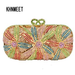 red gold clutch Australia - LaiSC evening bag women diamond clutch crystal bag red flower ladies party purse gold wedding accessories Soiree Pochette SC252