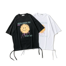 Wholesale fun tee shirts for sale - Group buy Europe Spring Summer oversize Fun everyday Smiley Face Print Casual Hip Hop String Tshirt T Shirts Men Women Cotton Tee