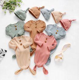 Wholesale Infant Sleeping Bag Newborn Baby Swaddle Blanket hat 2 pcs Wrap Toddler Cotton Cartoon Sleeping Sacks Photography Prop zyy600