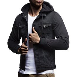 Wholesale mens denim hoodie for sale - Group buy 2020 Denim Jacket Men Hooded Sportswear Outdoors Casual Fashion Jackets Hoodies Mens Jacket and Coat Plus Size