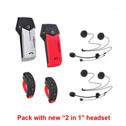 Wholesale (Double Packing)FreedConn COLO-RC Motorcycle Bluetooth Helmet Headset 1000M Wireless Intercom + L3 with 2 in 1 headset1