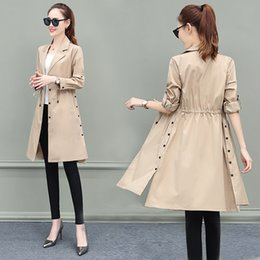 Trench Cappotto per donna Streetwear Slim Single Breasted Coat Donne Donne Long Dark Green OverCoat Manteau Femme Plus Size 3XL 201030