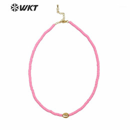 hot pink choker necklace NZ - WT-JN125 HOT new arrive 4mm spacer beads choker necklace lady pink color cowrie shell choker necklace with charms1