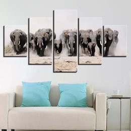 popular art oil painting UK - Modular Popular Picture Canvas Artwork 5 Panel Elephant Wall Art Fashion Poster Painting Framework Modern Living Room Decorative