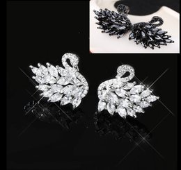 Wholesale swan black resale online - 2020 new Korean style stylish elegant earrings S925 sterling silver anti sensitive black swan earrings versatile professional earrings
