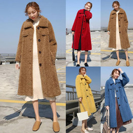 Wholesale woman coats china for sale – winter Womail fur coats china winter Fashion Long Sleeve Sweater Button Solid Casual Warm Outerwear thick faux fur coat women