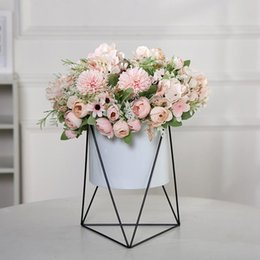 hand bouquet wedding pink roses Australia - 7 Heads Rose Hydrangea Artificial Bouquet Silk Flower For Wedding Home Decoration Fake Flowers Bridal Hand Flower