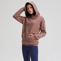 sportmäntel großhandel-Sport Fitness Hoodies LU Frauen Herbst Winter Fleece Kapuzenpulli feste Gym Outwear Warm Sweat Femme Yoga Sweatshirt Jacken Mantel