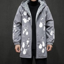 Discount long black hooded trench coat New Winter Thicken Long Jacket Men Parkas Warm Big Size Thicken Young Trench Parka Male Coat High Quality Loose Cotton-P