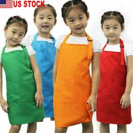 Discount baby pocket bibs New Painting Toddler 51cmx49cm Aprons Kids Baby Pocket Bib Solid Color Cooking Apron Kitchen Clean Child Dropshipping Pi