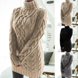 Wholesale womens sweater dresses for sale - Group buy 2021 Designer Womens Dresses Women Turtleneck Twist Knitted Long Sleeve Warm Sweater Autumn Winter Mini Dress