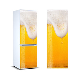 fridge covers Canada - 3D Fridge Sticker Cool Beer Refrigerator Dishwasher Door Cover Kitchen Home Decoration Accessories Modern 3d Wall Stickers LJ200904