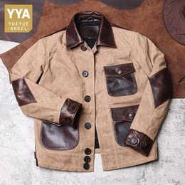 Wholesale slim fit genuine leather jacket for sale - Group buy Vintage Mens Cargo Coat Pockets Canvas Patchwork Cow Genuine Leather Jacket Male Retro Safari Style Slim Fit Short Outwear Coat